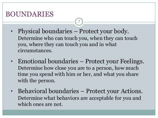 Setting physical boundaries in relationships
