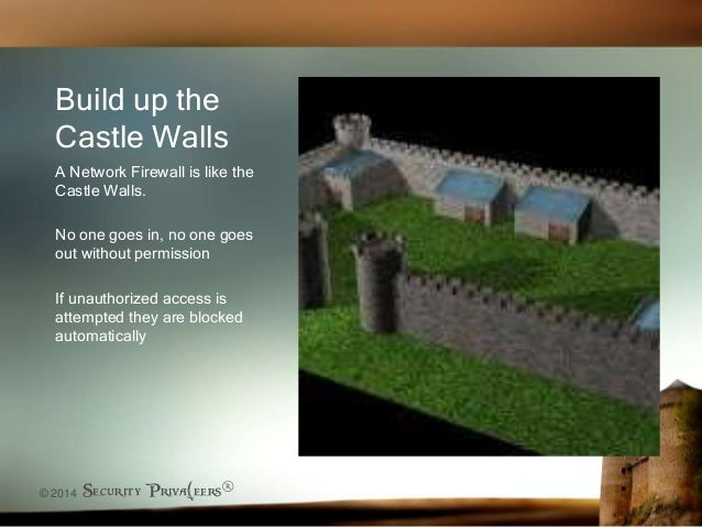 © 2014 Security Priva(eers® Build up the Castle Walls A Network Firewall is like the Castle Walls. No one goes in, no one ...