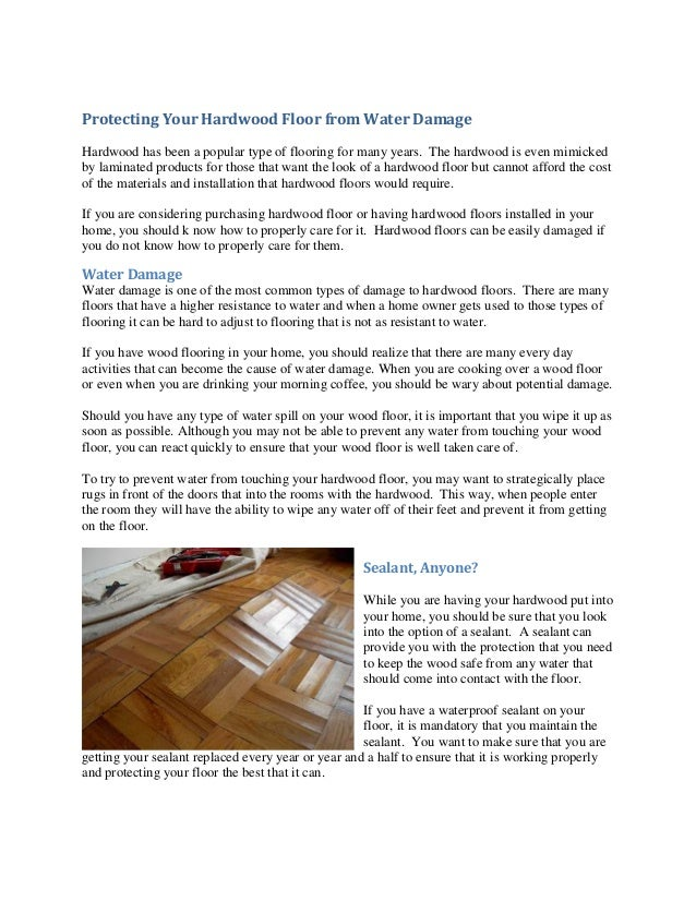 Protecting Your Hardwood Floor From Water Damage