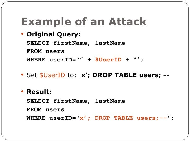 Protecting your web site from sql injection xss - Sql injection drop table example ...