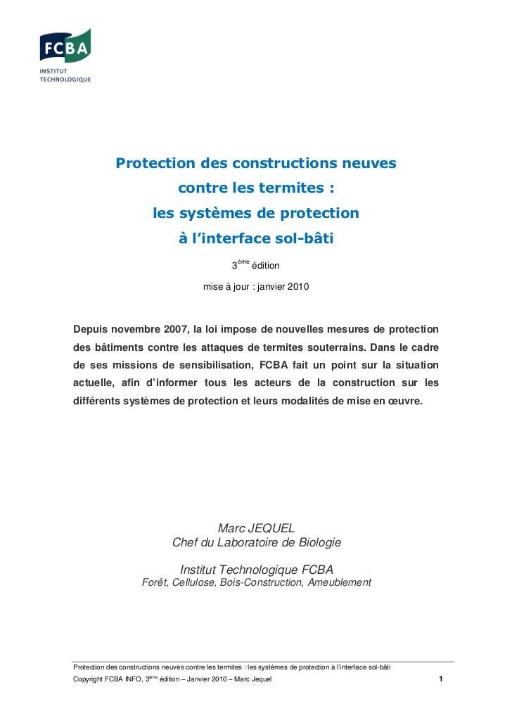 Protection des constructions neuves                                   contre les termites :                          les s...