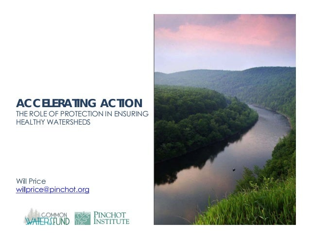 ACCELERATING ACTION  THE ROLE OF PROTECTION IN ENSURING HEALTHY WATERSHEDS  Will Price willprice@pinchot.org