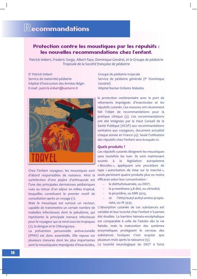 Protection contre les moustiques par les répulsifs   les nouvelles recommandations chez l'enfant.