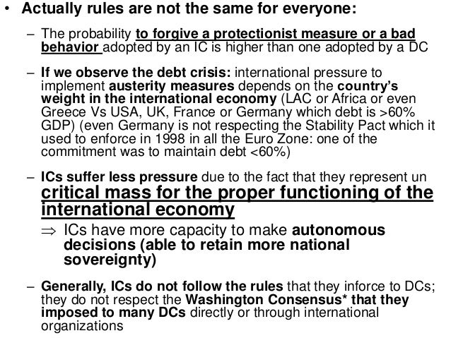 the washington consensus 1989 The term washington consensus  was coined in 1989 the first written usage was in my background paper for a conference that the institute for international economics convened in order to examine the extent to which the old ideas of development economics that had governed latin american.