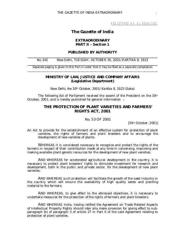 THE GAZETTE OF INDIA EXTRAORDINARY 1 REGISTERED NO. DL-33004/2001 The Gazette of India EXTRAORODINARY PART II – Section 1 ...