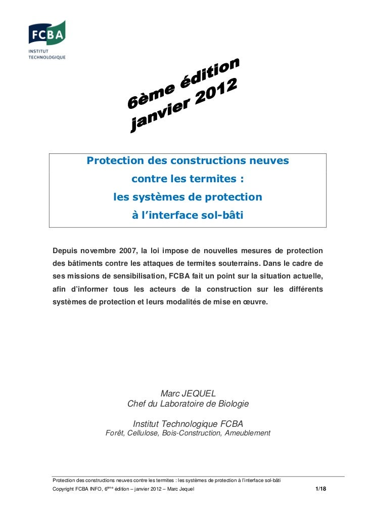 Protection des constructions neuves                                     contre les termites :                            l...