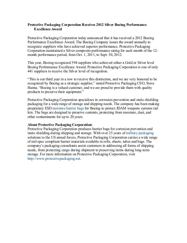 Protective Packaging Corporation Receives 2012 Silver Boeing PerformanceExcellence AwardProtective Packaging Corporation t...