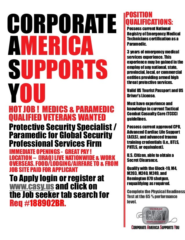 Hot Job Nationwide Iraq Protective Security Specialist Paramedic