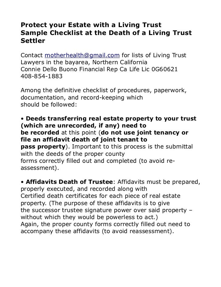 Protect your Estate with a Living TrustSample Checklist at the Death of a Living TrustSettlerContact motherhealth@gmail.co...