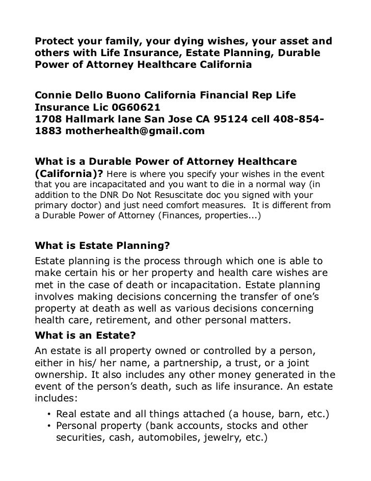 Protect your family, your dying wishes, your asset andothers with Life Insurance, Estate Planning, DurablePower of Attorne...