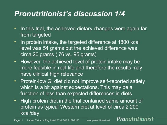 Pronutritionist's discussion 1/4 • In this trial, the achieved dietary changes were again far from targeted • In protein i...