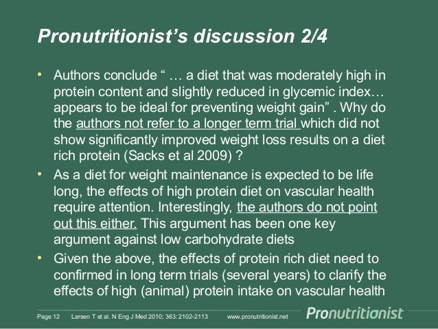 """Pronutritionist's discussion 2/4 • Authors conclude """" … a diet that was moderately high in protein content and slightly re..."""