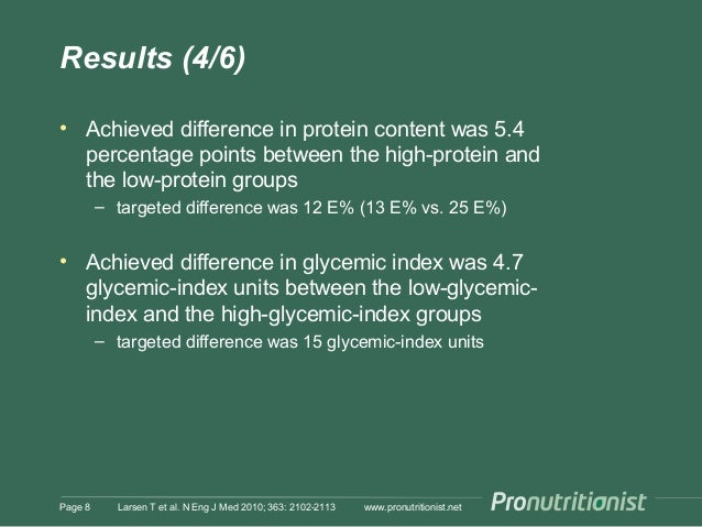 Results (4/6) • Achieved difference in protein content was 5.4 percentage points between the high-protein and the low-prot...