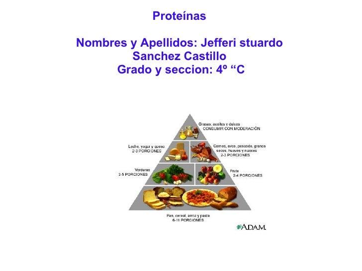 """Proteínas Nombres y Apellidos: Jefferi stuardo Sanchez Castillo  Grado y seccion: 4º """"C"""