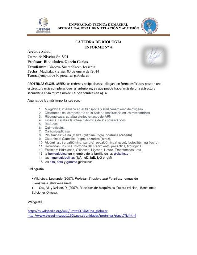UNIVERSIDAD TECNICA DE MACHAL SISTEMA NACIONAL DE NIVELACIÓN Y ADMISIÓN  CATEDRA DE BIOLOGIA INFORME Nº 4 Área de Salud Cu...
