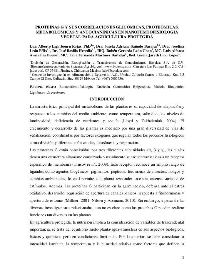 PROTEÍNAS G Y SUS CORRELACIONES GLICÓMICAS, PROTEÓMICAS,    METABOLÓMICAS Y ANTOCIANÍNICAS EN NANOFEMTOFISIOLOGÍA         ...