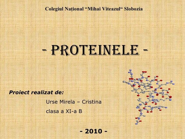 """-   Proteinele - Proiect realizat de: Urse Mirela – Cristina clasa a XI-a B Colegiul Naţional """"Mihai Viteazul"""" Slobozia ..."""