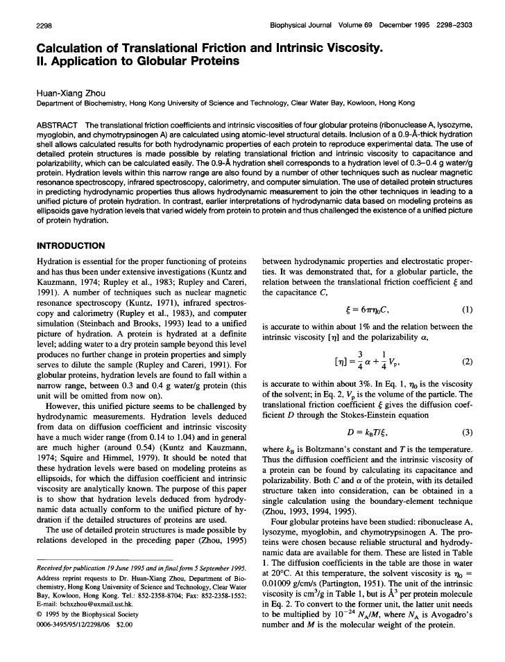 2298                                                                        Biophysical Journal Volume 69 December 1995 22...