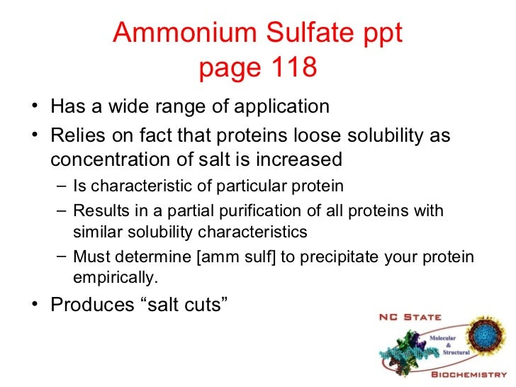 isolation of protein by ammonium sulfate precipitation Selective isolation of protein by combining oligovalent aggregation with ammonium sulfate (ams) precipitation this paper describes a method that combines the selectivity of.