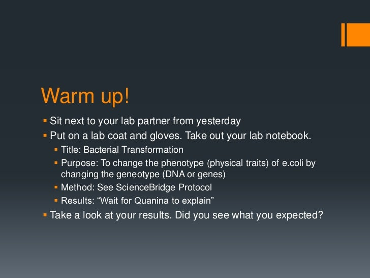 Warm up! Sit next to your lab partner from yesterday Put on a lab coat and gloves. Take out your lab notebook.   Title:...