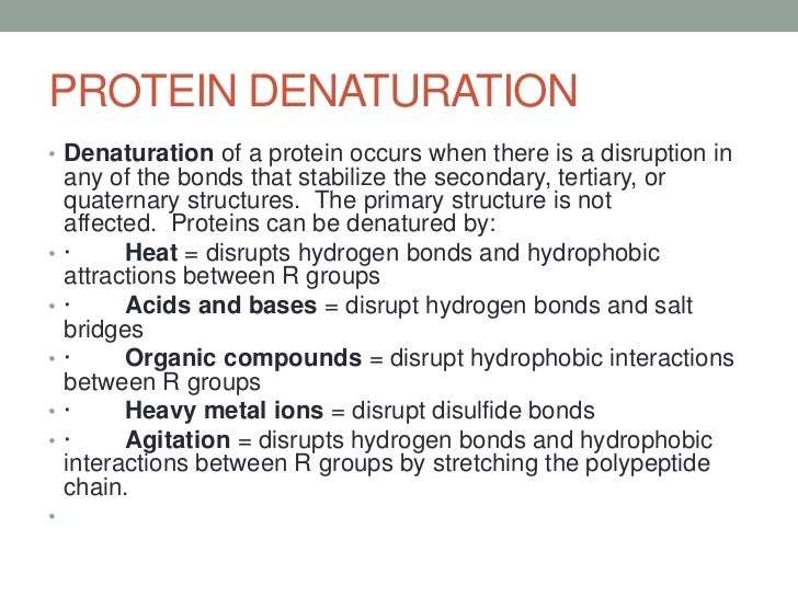 protein denaturation Denaturation of proteins is a reversible and sometimes irreversible process that involves the disruption and possible destruction of both the secondary and tertiary structures.
