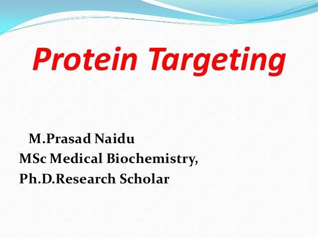 Protein Targeting M.Prasad Naidu MSc Medical Biochemistry, Ph.D.Research Scholar