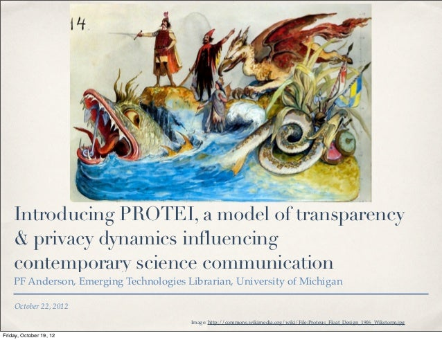 Introducing PROTEI, a model of transparency    & privacy dynamics influencing    contemporary science communication    PF ...