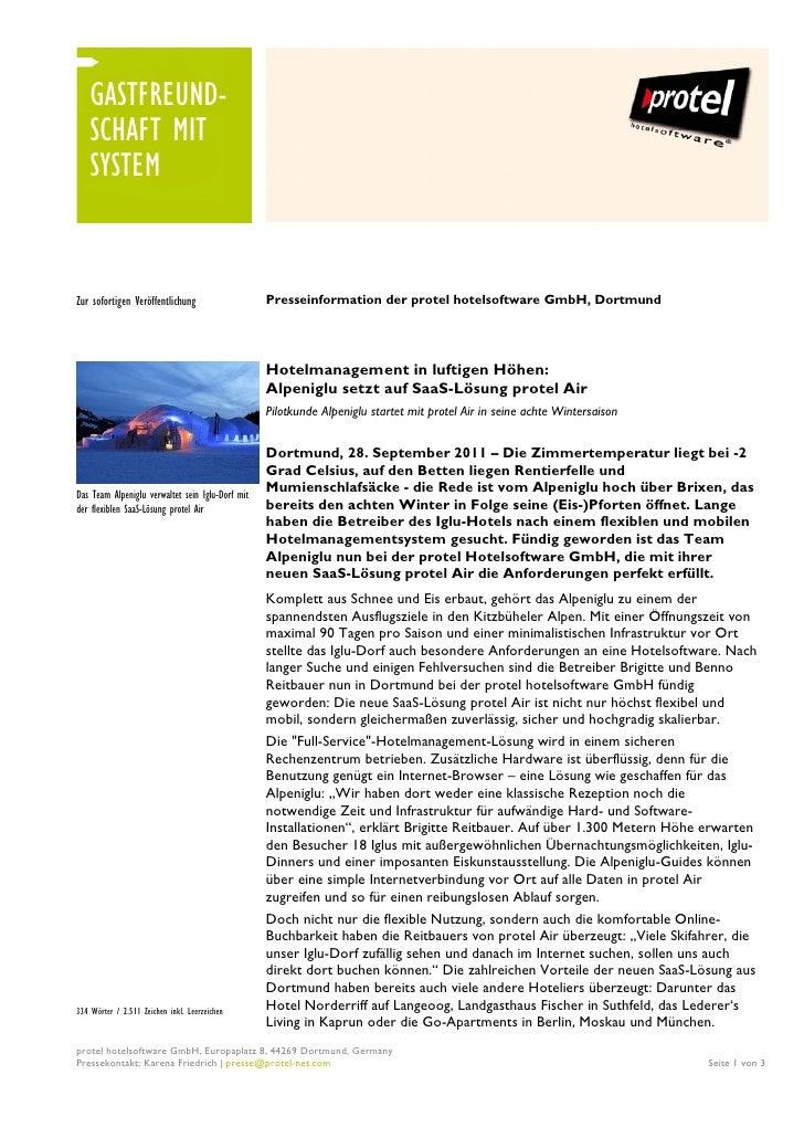 GASTFREUND-    SCHAFT MIT    SYSTEMZur sofortigen Veröffentlichung                   Presseinformation der protel hotelsof...