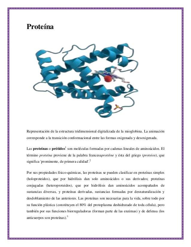 Proteína  Representación de la estructura tridimensional digitalizada de la mioglobina. La animación corresponde a la tran...