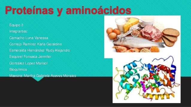 Proteínas y aminoácidos Equipo 3 Integrantes: Camacho Luna Vanessa Cornejo Ramirez Karla Geraldine Esmeralda Hernández Rud...