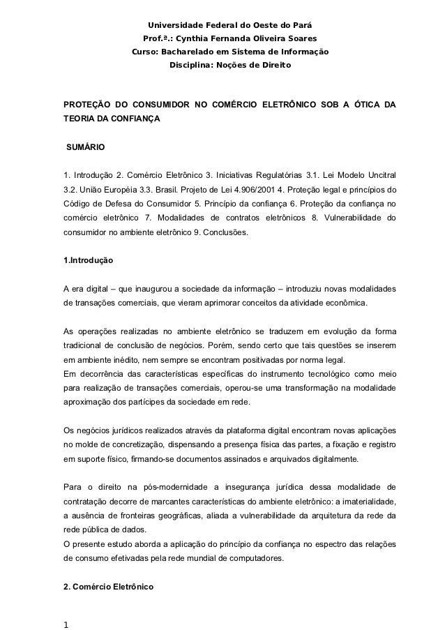 Universidade Federal do Oeste do Pará                     Prof.ª.: Cynthia Fernanda Oliveira Soares                  Curso...