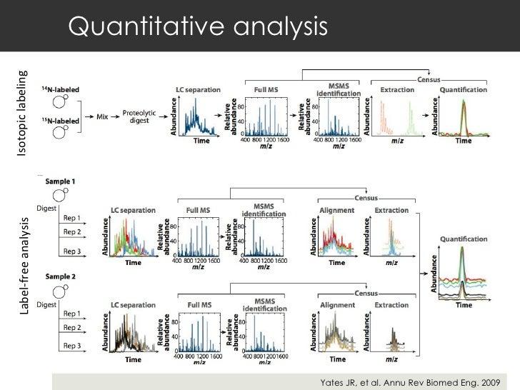 Quantitative analysis Yates JR, et al. Annu Rev Biomed Eng. 2009 Isotopic labeling  Label-free analysis