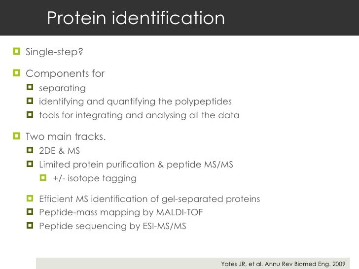 Protein identification <ul><li>Single-step? </li></ul><ul><li>Components for  </li></ul><ul><ul><li>separating </li></ul><...