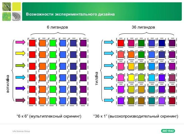 """Life Science Group """"6 к 6"""" (мультиплексный скрининг) 1аналит 36 лигандов6 лигандов 6аналитов """"36 к 1"""" (высокопроизводитель..."""