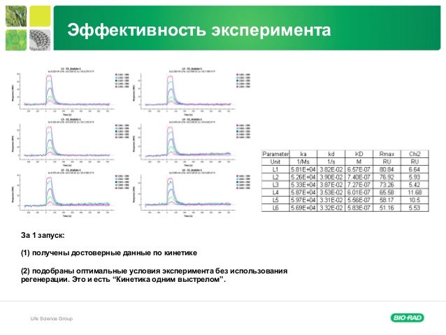 Life Science Group За 1 запуск: (1) получены достоверные данные по кинетике (2) подобраны оптимальные условия эксперимента...