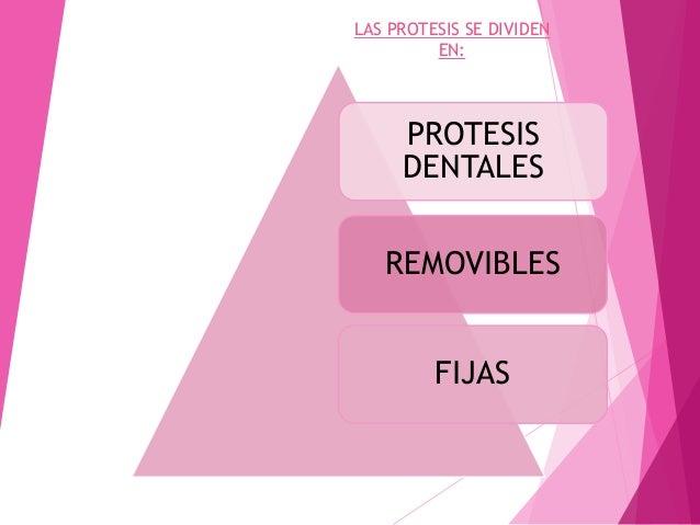 PROTESIS DENTALES REMOVIBLES FIJAS LAS PROTESIS SE DIVIDEN EN: