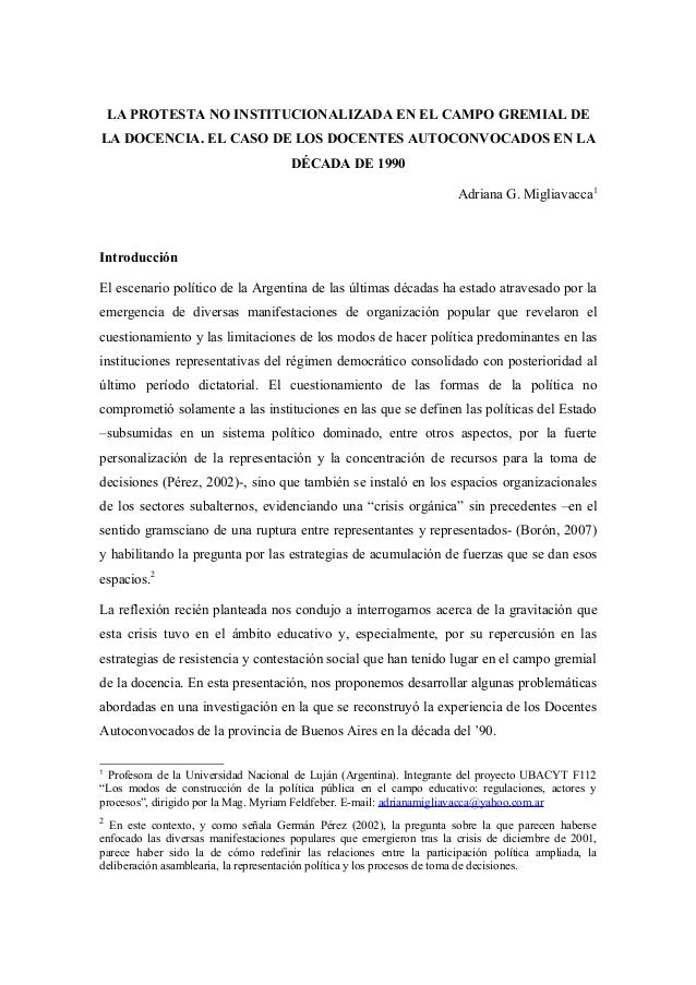 LA PROTESTA NO INSTITUCIONALIZADA EN EL CAMPO GREMIAL DE LA DOCENCIA. EL CASO DE LOS DOCENTES AUTOCONVOCADOS EN LA DÉCADA ...