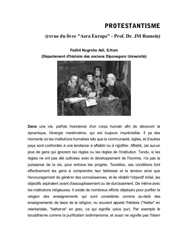 """PROTESTANTISME (revue du livre """"Aera Europe"""" - Prof. Dr. JM Romein) Fadhil Nugroho Adi, S.Hum (Département d'histoire des ..."""