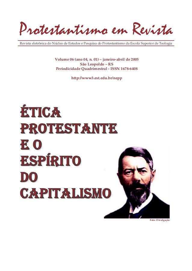 Revista eletrônica do Núcleo de Estudos e Pesquisa do Protestantismo da Escola Superior de Teologia  Volume 06 (ano 04, n....