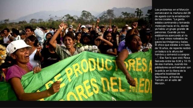 """Los problemas en el Monzóncomenzaron la mañana del 28de agosto con la erradicaciónde los cocales. """"La genteestaba caminand..."""