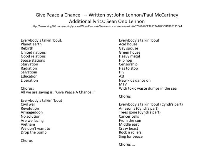 Give peace a chance john lennon lyrics