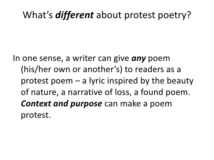 how to write a protest poem