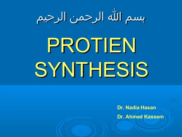 بسم ا الرحمن الرحيم PROTIENSYNTHESIS             Dr. Nadia Hasan             Dr. Ahmed Kassem