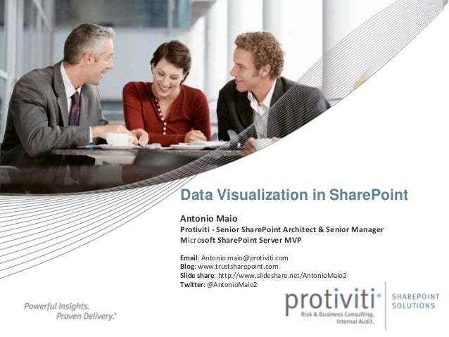 Data Visualization in SharePoint Antonio Maio Protiviti - Senior SharePoint Architect & Senior Manager Microsoft SharePoin...