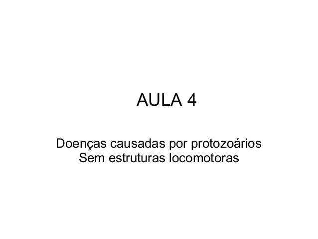 AULA 4  Doenças causadas por protozoários  Sem estruturas locomotoras