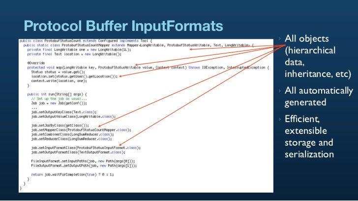 Protocol Buffer InputFormats                                ‣   All objects                                    (hierarchic...