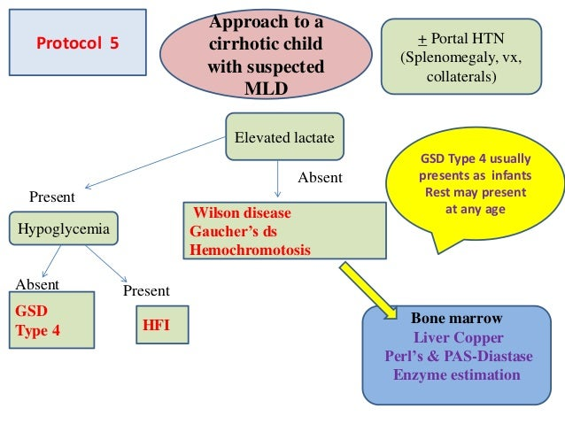 Approach to a cirrhotic child with suspected MLD + Portal HTN (Splenomegaly, vx, collaterals) Bone marrow Liver Copper Per...