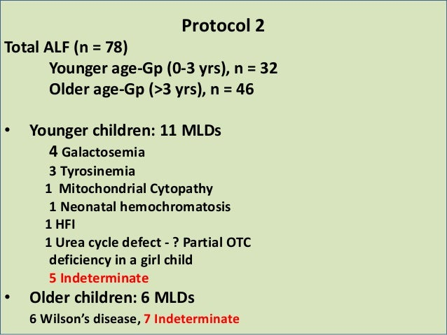 Protocol 2 Total ALF (n = 78) Younger age-Gp (0-3 yrs), n = 32 Older age-Gp (>3 yrs), n = 46 • Younger children: 11 MLDs 4...