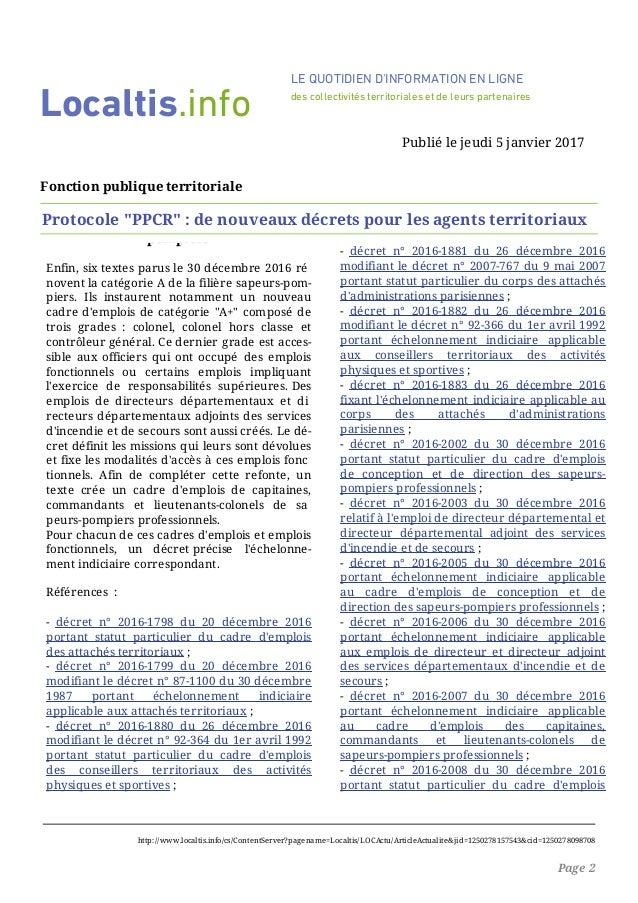 Protocole ppcr de nouveaux decrets pour les agents - Refonte de la grille indiciaire de la categorie c ...