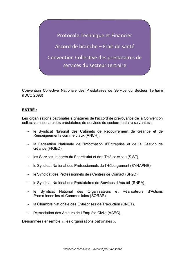 Protocole Technique et Financier DES COMPTES DE RESULTATS PROJET - PROJET – Convention Collective Nationale des Prestatair...